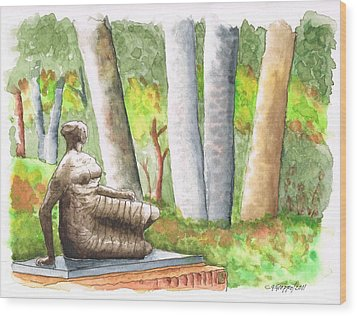 Draped Reclined Woman By Henry Moore - Norton Simon Museum - Pasadena - California Wood Print