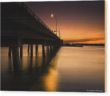 Drawbridge At Sunset Wood Print