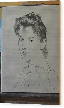 Wood Print featuring the painting drawing for Gabrielle Cot portrait by Glenn Beasley