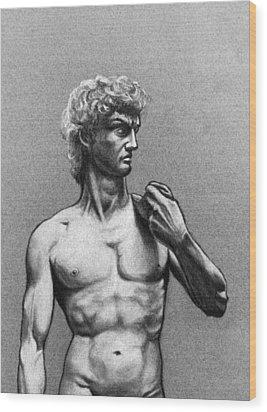 Drawing Of Michelangelos David Wood Print