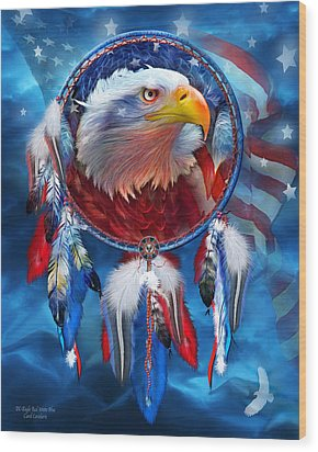 Wood Print featuring the mixed media Dream Catcher - Eagle Red White Blue by Carol Cavalaris