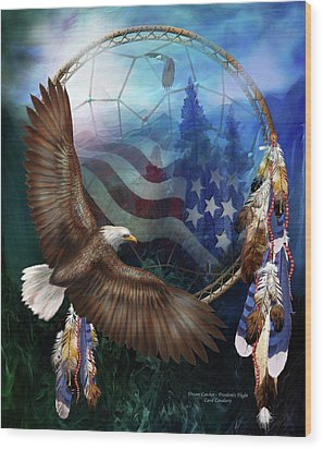 Dream Catcher - Freedom's Flight Wood Print by Carol Cavalaris