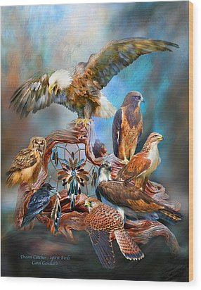 Dream Catcher - Spirit Birds Wood Print by Carol Cavalaris