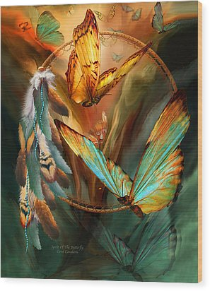 Dream Catcher - Spirit Of The Butterfly Wood Print by Carol Cavalaris