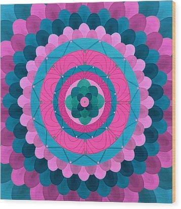 Dream Flower Mandala Wood Print by Vlatka Kelc