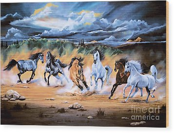 Dream Horse Series 125 - Flat Bottom River Wild Horse Herd Wood Print