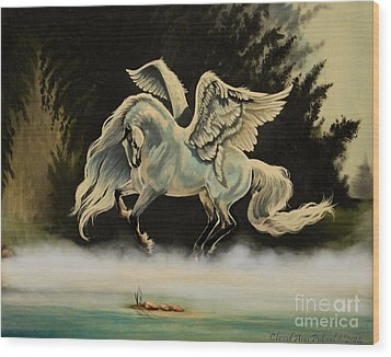 Dream Horse Series #206- A Pegasus In The Mist  Wood Print