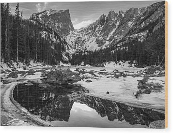 Dream Lake Reflection Black And White Wood Print by Aaron Spong