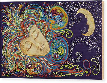 Dream Mask Wood Print by Nickie Bradley