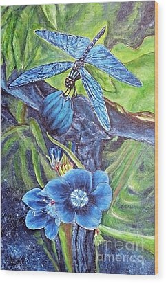 Dream Of A Blue Dragonfly Wood Print by Kimberlee Baxter