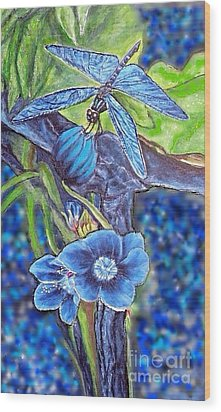 Dream Of A Blue Dragonfly Over Water Wood Print by Kimberlee Baxter