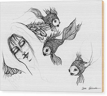 Dream Of Goldfish Wood Print by Angel  Tarantella