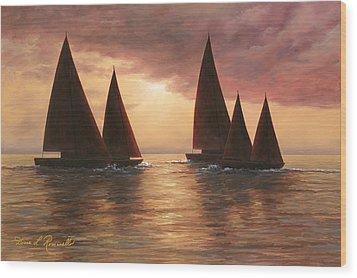 Dream Sails Wood Print by Diane Romanello