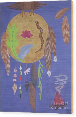 Wood Print featuring the painting Dream Spirit Shield by Ellen Levinson