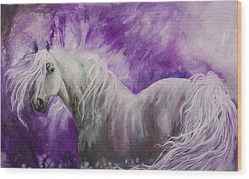Wood Print featuring the painting Dream Stallion by Sherry Shipley