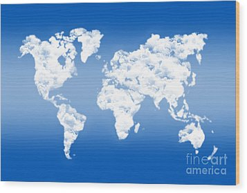 Dreamer World Map Wood Print by Delphimages Photo Creations