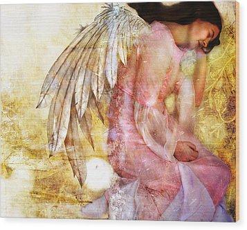Dreaming Angel Wood Print