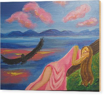 Wood Print featuring the painting Dreaming At Eagle Lake by Diana Riukas