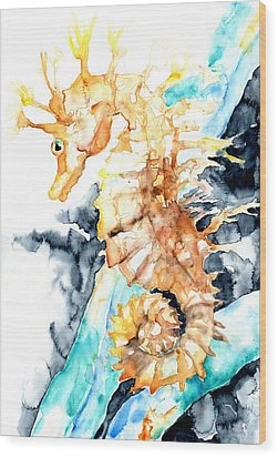 Dreaming Of A Seahorse  Wood Print by Barbara Pommerenke