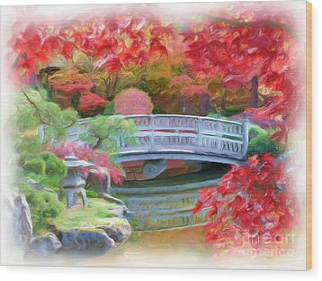Dreaming Of Fall Bridge In Manito Park Wood Print by Carol Groenen