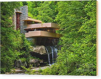 Dreaming Of Fallingwater 4 Wood Print by Rachel Cohen