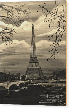 Wood Print featuring the painting Dreaming Of Paris by Brigitte Emme