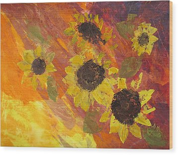 Dreaming Sunflowers Wood Print
