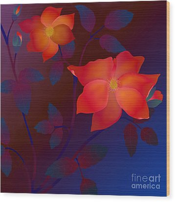 Wood Print featuring the digital art Dreaming Wild Roses by Latha Gokuldas Panicker