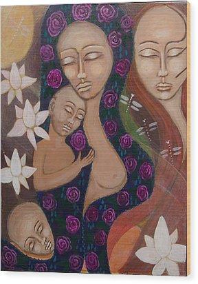Dreamtime Communion Wood Print by Havi Mandell