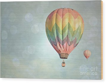 Dreamy Balloon Pair Sky Wood Print by Andrea Hazel Ihlefeld