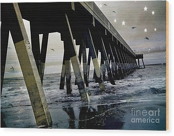 Dreamy Haunting Ocean Coastal Pier With Stars And Birds Wood Print by Kathy Fornal