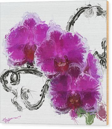 Dreamy Orchids Wood Print