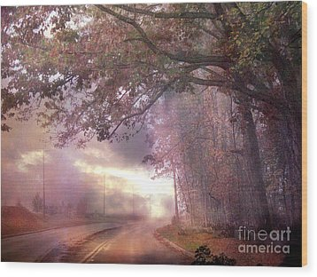 Dreamy Pink Nature Landscape - Surreal Foggy Scenic Drive Nature Tree Landscape  Wood Print by Kathy Fornal