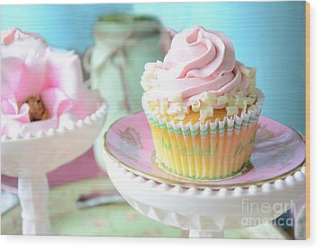 Dreamy Shabby Chic Cupcake Vintage Romantic Food And Floral Photography - Pink Teal Aqua Blue  Wood Print by Kathy Fornal