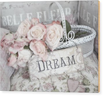 Dreamy Shabby Chic Romantic Cottage Chic Roses In White Basket  Wood Print by Kathy Fornal