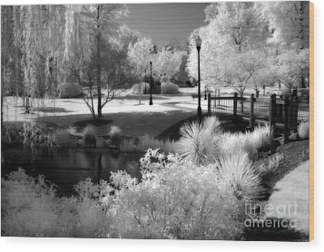 Dreamy Surreal Black White Infrared Landscape Wood Print by Kathy Fornal