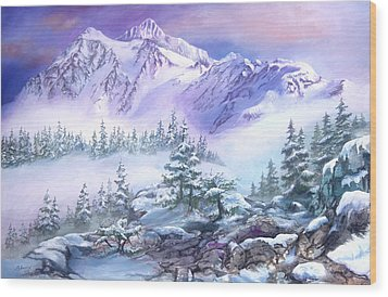 Wood Print featuring the painting Dressed In White Mount Shuksan by Sherry Shipley