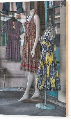 Dresses For Sale Wood Print by Brenda Bryant