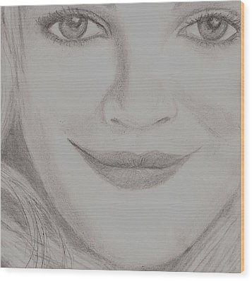 Wood Print featuring the drawing Drew Barrymore by Christy Saunders Church
