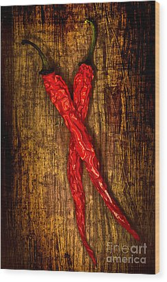 Dried Pepperoni Wood Print by Shawn Hempel