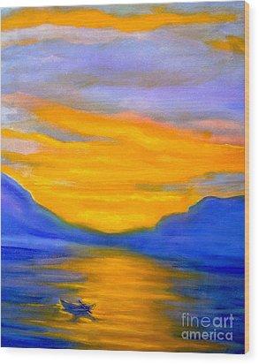 Drifting At Sunset Wood Print by Nancy Rucker
