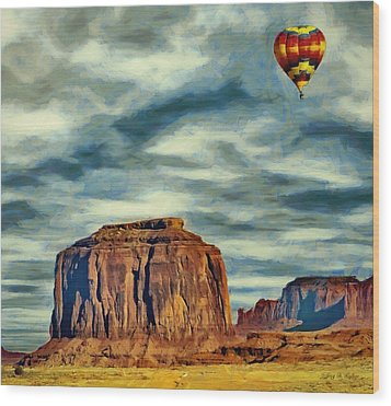 Drifting Over Monument Valley Wood Print by Jeff Kolker