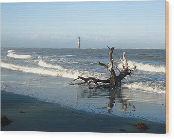 Wood Print featuring the photograph Driftwood And Morris Island Lighthouse by Ellen Tully