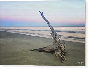 Driftwood At Dusk Wood Print by Phill Doherty