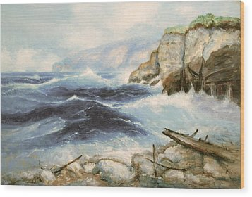 Driftwood Cliffs Wood Print