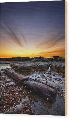 Driftwood Wood Print by Mark Leader