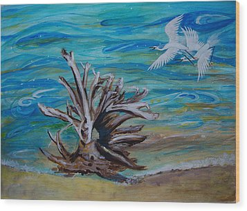 Driftwood On Lake Huron Wood Print