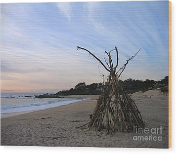 Wood Print featuring the photograph Driftwood Tipi by James B Toy