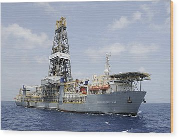 Wood Print featuring the photograph Drillship Discoverer Deep Seas by Bradford Martin