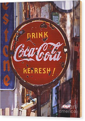 Drink Coca-cola Sign Wood Print